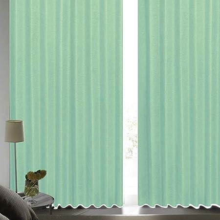 [カーテンくれない] 断熱・遮熱カーテン「静 Shizuka」完全遮光生地使用【形状記憶加工】遮音 防音効果で生活音を軽減 高断熱 静 遮光1級 全13色 色: グリーン (幅)100cm×(丈)200cm×2枚入 / Bフック/タッセル付き