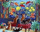 Kit de acuario de gato preimpreso de punto de cruz DIY bordado preimpreso hecho a mano decoración del hogar 11CT (lienzo preimpreso)