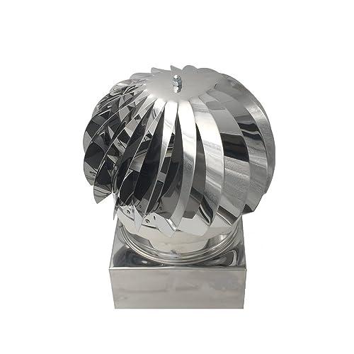 Extracteur de fumées rotatif éolien en inox AISI304 base carrée, chapeau de cheminée, toutes dimensions (42x42 cm)