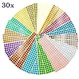 JZK 30 fogli 10mm bollini adesivi colorati 15 colori adesivi rotondi piccoli etichette col...