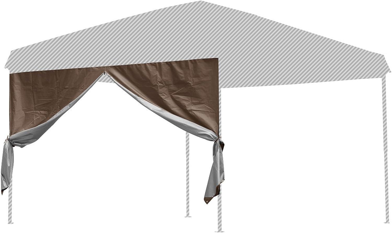 FIELDOOR tarp Tent 3.0m  3.0m Private Side Sheet (Horizontal Curtain) Wall Zip Type (Dark Brown) Steel, Aluminum Common (G3 Model)
