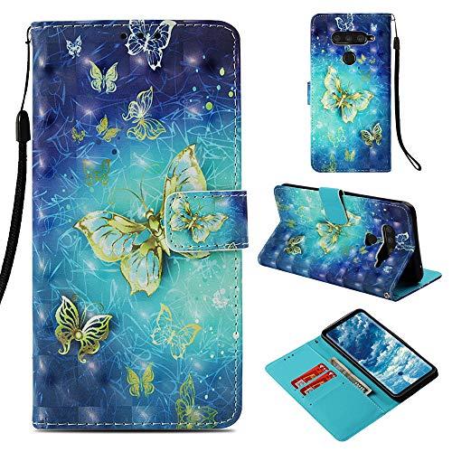 DodoBuy LG V50 ThinQ Hülle 3D Flip PU Leder Schutzhülle Stand Handy Tasche Brieftasche Wallet Hülle Cover für LG V50 ThinQ - Schmetterling Gold