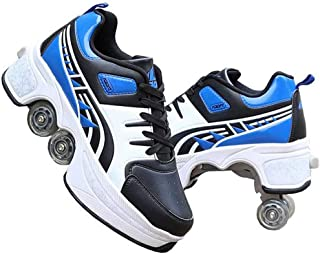 Ice Skates Automatic Walking Shoes Invisible Pulley Shoes Skates Roller Shoes Male And Female Double-Row Deform Wheel Skat...