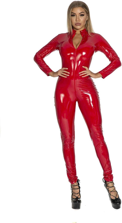 Daily bargain sale QSCFG Lingerie for Women Sexy Faux Jumpsuit Latex PVC Al sold out.