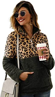 Women's Leopard Print Patchwork Fleece Sweatshirt Long Sleeve Zip Up Warm Fuzzy Fleece Pullover Outwear Tops with Big Pouch