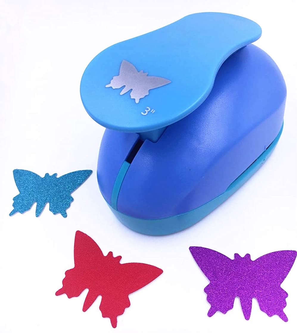 TECH-P Creative Life XXX-Large Shape Size 3-Inch(7.5cm) Multi-Pattern Hand Press Paper Craft Punch,Card Scrapbooking Engraving Kid Cut DIY Handmade Hole Puncher,Paper Craft Punch (Butterfly)