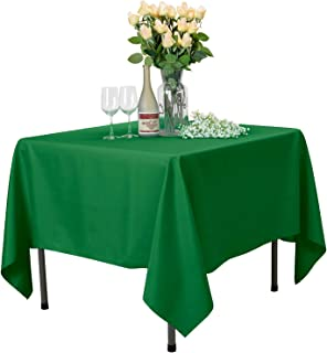 VEEYOO Square Tablecloth 100% Polyester Table Cloth for Indoor and Outdoor Table – Solid Dinner Tablecloth for Wedding Party Restaurant Coffee Shop (Green, 85x85 inch)