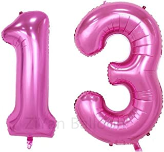 ZIYAN 40 Inch Giant 13th Pink Number Balloons,Birthday / Party Balloons