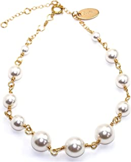Handmade 14-kt Gold-Filled Brass Bracelet with 4mm to 8mm White Swarovski Elements Simulated Pearl, 9