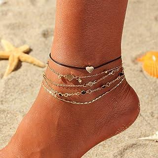 Handcess - Cavigliera in stile boho, a strati, a forma di cuore dorato, con perline, per donne e ragazze, confezione da 5 ...