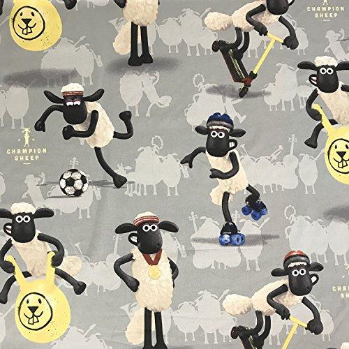 Lizenzprodukt Shaun das Schaf grau Neuheit Premium Grade 100% Baumwolle feines Gewebe Kinder Vorhang Betten Stoff 140cm breit, Meterware,