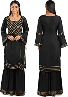 ADORSY Premium Gota Patti Embroided A Line Kurta And Sharara Set