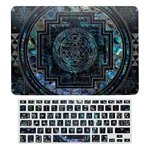 MacBook Air 13 Inch Case(A1369 & A1466, Older Version 2010-2017 Release), Plastic Hard Protective Laptop Case Shell with Keyboard Cover, Sri Yantra sri Chakra Abalone Shell