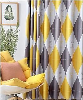 SFQRYP Nordic Style Rhombus ستائر لغرفة النوم غرفة المعيشة ستائر التعتيم بسيط ستائر الجاكار الحديثة تول (Color : Yellow, S...