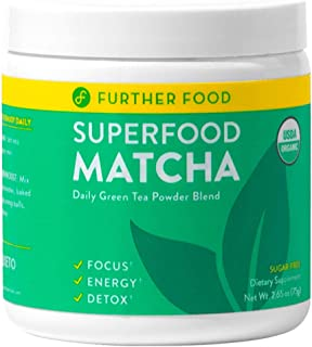 Further Food Superfood Matcha: USDA Organic Matcha Green Tea Powder Boosted with 4 Superfoods for Energy & Detox | Plant-Based, Sugar-Free, Non-GMO (30 Servings)
