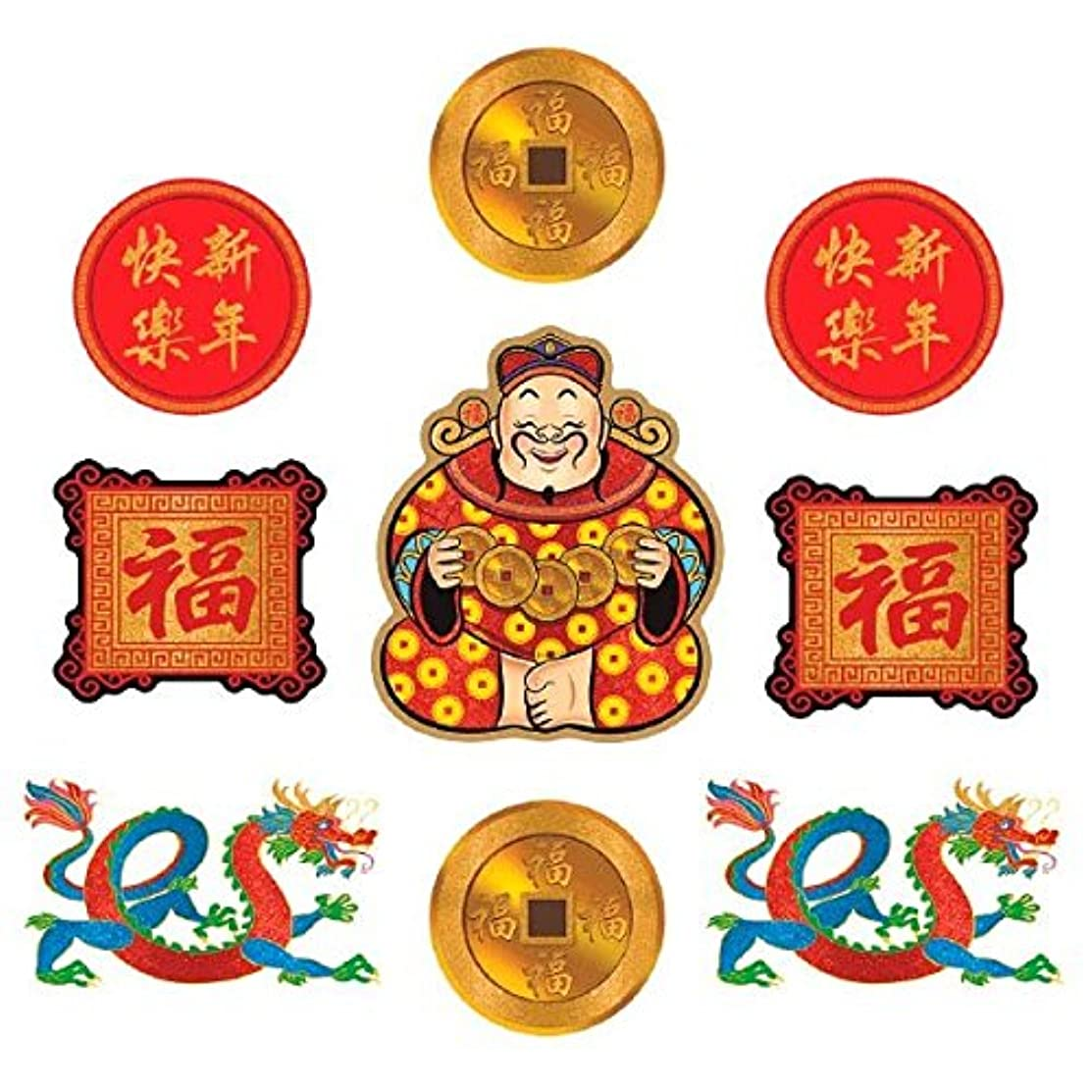 Amscan 190504 Chinese New Year Cutouts Party Supplies, Multicolor