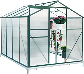 Erommy Walk-in Greenhouse Large Gardening Plant Hot House with Adjustable Roof Vent and Rain Gutters,UV Protection Planting House,8'(L) x 6'(W) x 6.6'(H)