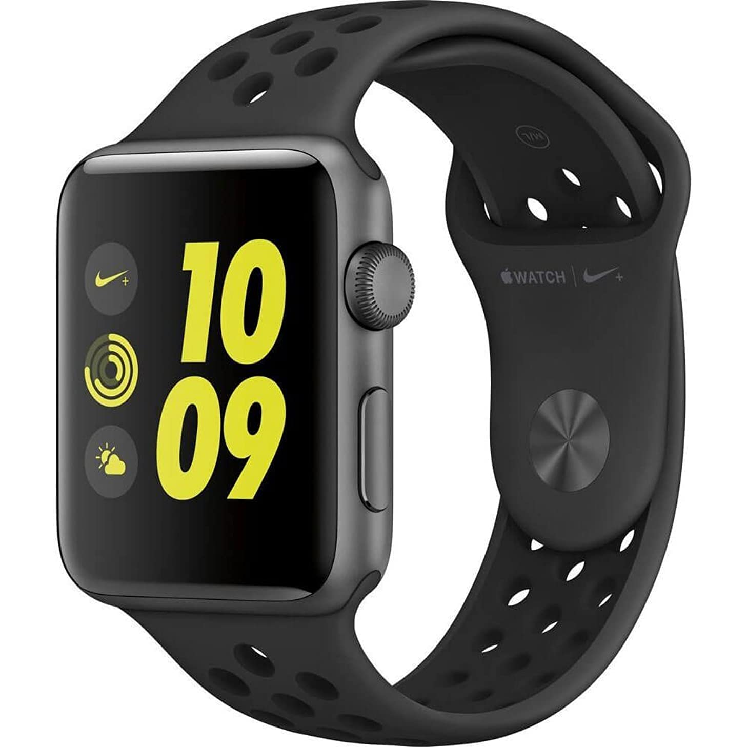 Apple Watch Nike+ Series 2 42mm Space Gray Aluminum Case Anthracite/Black Nike Sport Band (Renewed)