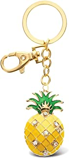 Aqua79 Pineapple Keychain - Gold 3D Sparkling Charm Rhinestones Fashionable Stylish Metal Alloy Durable Key Ring Bling Crystal Jewelry Accessory With Clasp For Key chain, Bag, Purse, Backpack, Handbag