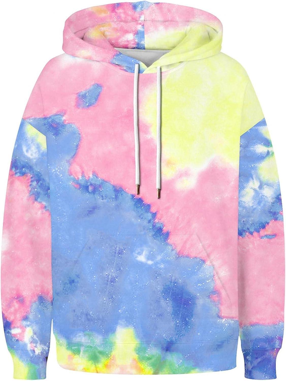 lucyouth Tie Dye Sweatshirts for Women Casual Long Sleeve Pullover Fashion Lightweight Pocket Tops Hooded Sweatshirt