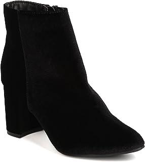 Women Velvet Pointy Toe Block Heel Bootie GB05