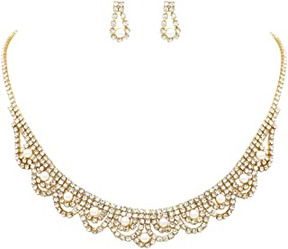 Rosemarie Collections Women's Combination Simulated Pearl and Crystal Necklace and Dangle Earrings Jewelry Set