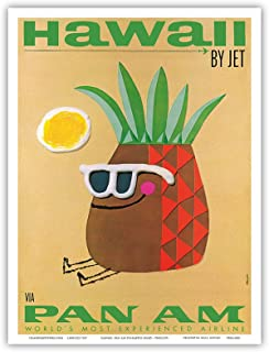 Hawaii by Jet - Pan American Airlines (PAA) - Mr. Pineapple Head - Vintage Hawaiian Travel Poster by Phillips - Hawaiian Master Art Print - 9in x 12in