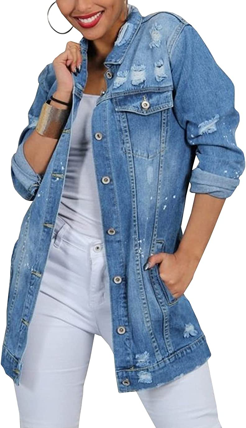 Duyang Womens Casual Distressed Denim Jacket Button Down Ripped Mid-Long Jeans Jacket