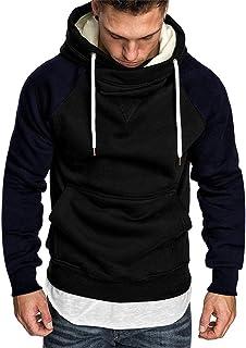 PowerFul-LOT Men's Coat Splicing Button Pullover Long Sleeve Hooded Sweatshirt Tops 2019