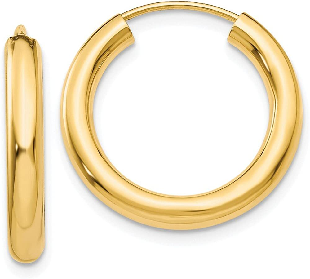 14k Yellow Gold Endless Tube Hoop Earrings Ear Hoops Set Round Fine Jewelry For Women Gifts For Her