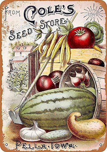 Froy Cole'S Seed Store Pella Iowa - Cartel de pared retro de hierro para pintura de chapa de metal vintage personalizada, decoración de creatividad, manualidades para cafetería, bar, garaje o