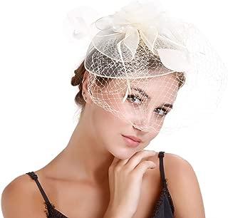BOZEVON Hair Clips - Fascinator Hats Veil Feather Tea Party Hair Accessories