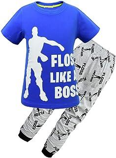 Kids Floss Like a Boss All Over Gaming Black Gold Cotton Short Sleeve T Shirt & Pant Set