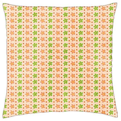 BXBX Funda de Almohada (18 x 18 Pulgadas) - Flores, círculos, Color de Fondo Rosa