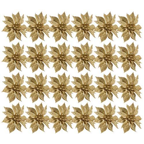 jojofuny 24 Pz Glitter Poinsettia Addobbi per L'Albero di Natale 10 Cm Poinsettia Fiori Artificiali Fiori a Doppio Strato Decorazione Ghirlanda di Natale (Dorato)
