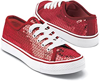 Sneakers Girls Shoes for Dance with Sequins Low Top Womens Lace Up Shoes