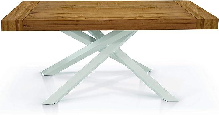tavolo allungabile legno bianco-rovere 160x90 cm (chiuso) - 260x90 cm (aperto) fashion commerce fc1616