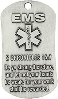 EMS Antique Finish Dog Tag Necklace-II Chronicles 15:7/Phil 4:13
