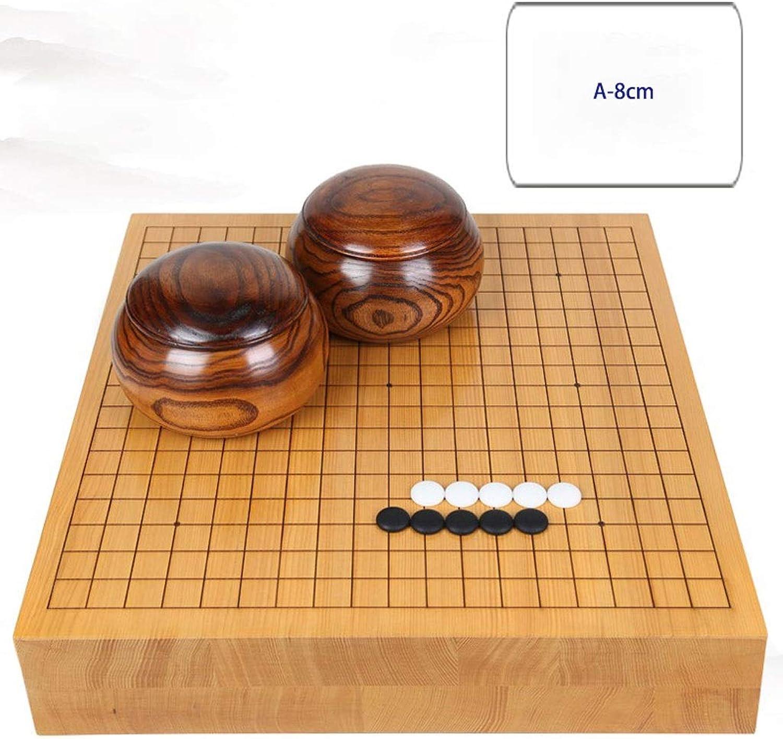 Yunzi Go Schachspiel, Massivholz Graviert, Doppelseitiges Schachbrett, Neues Yunzi Mit Vollholztank (Farbe   A, gre   8cm)