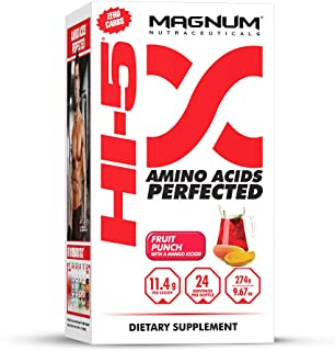 Magnum Nutraceuticals HI-5 Fruit Punch - 24 Servings - Amino Acids - Gain Lean Muscle - Reduce Fatigue - Improve Recovery