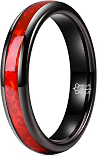 THREE KEYS JEWELRY 4mm Womens Tungsten Wedding Ring White/Red Imitated Opal Inlay Rose Gold Black Bands