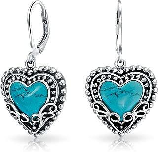Bali Style Stabilized Turquoise Heart Shape Leverback Drop Earrings For Women Oxidized 925 Sterling Silver