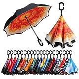 [Amazonブランド] Eono(イオーノ) ダブル レイヤー 反転 傘 リバース 折り 傘 セルフ スタンディング 防風 UV 保護 トラベル 傘 車 雨 と アウトドア用 C シェイプ ハンドル ズ オレンジ フラワー