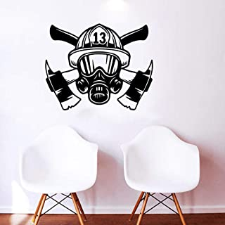 Wall Stickers Large Firefighter Mask Helmet Tools Wall Sticker Bedroom Playroom Fire Fighter Hat Ax Wall Decal Boy Room Vi...