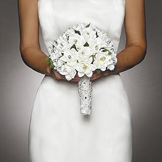 Kenyaw 2 Pieces Bridal Bouquet Holder Decoration Oasis Floral Foam Floral Moss Floral Flowers Handles Bride Wedding White Plus Green