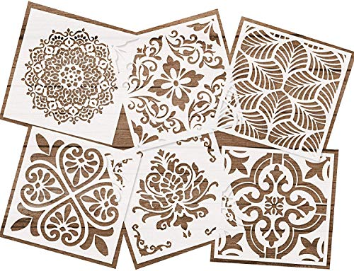 Premium Quality Reusable Stencils Set of 6 (6x6 inch) Laser Cut Painting Stencil Floor Wall Tile Fabric Wood Stencils (White)