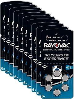 Rayovac 60 Baterías para audífonos Zinc Air Modelo 675 (azul)