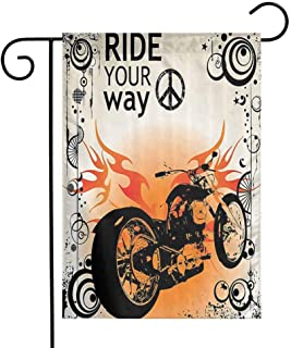 Manly Decor Garden Flag Motorcycle mage with Ride Your Way Text Peace Sign Freedom Action Freestyle Premium Material W12 x L18