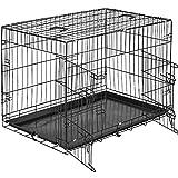 tectake Cage de Transport pour Chien-Box grillagé | 2 Grandes Portes équipées de verrous | Pliant - diverses Tailles au Choix...