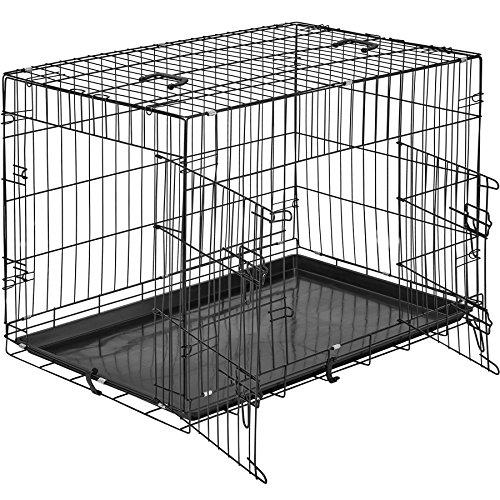 TecTake 800515 Hundekäfig Transportbox | 2 große Türen mit Riegeln | Zusammenklappbar - Verschiedene Größen (89 x 58 x 65 cm | Nr. 402295)